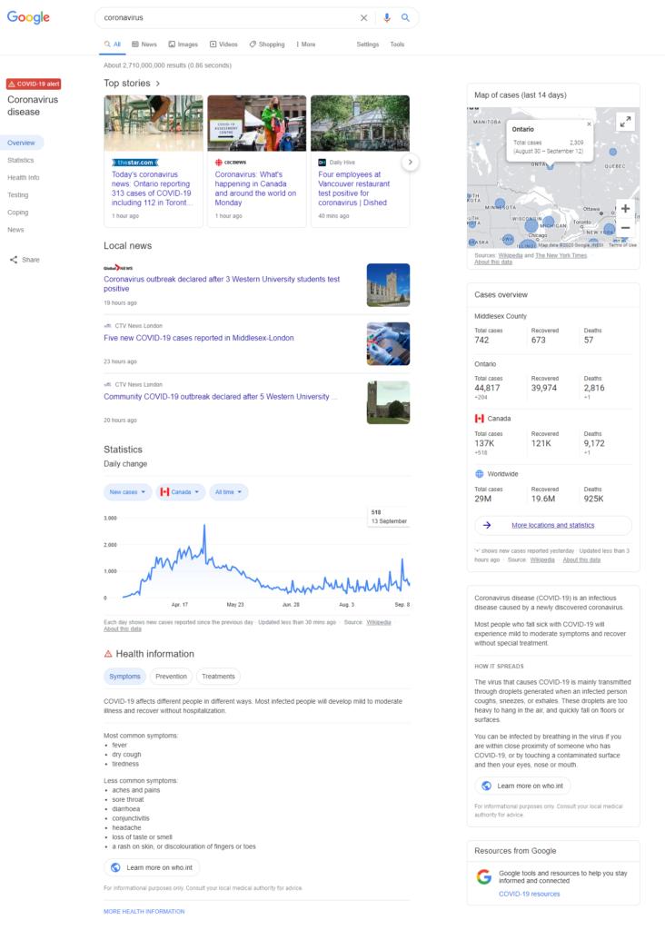 Google's Coronavirus SERP Updates