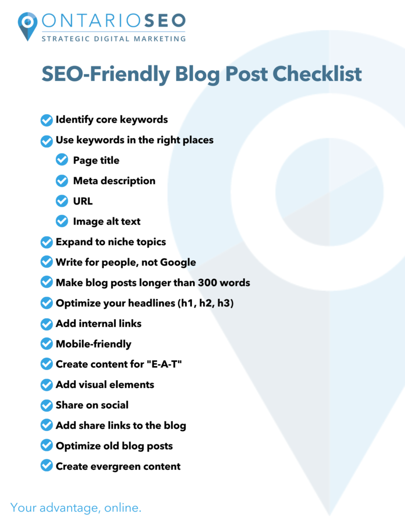 SEO Friendly Blog Post Checklist