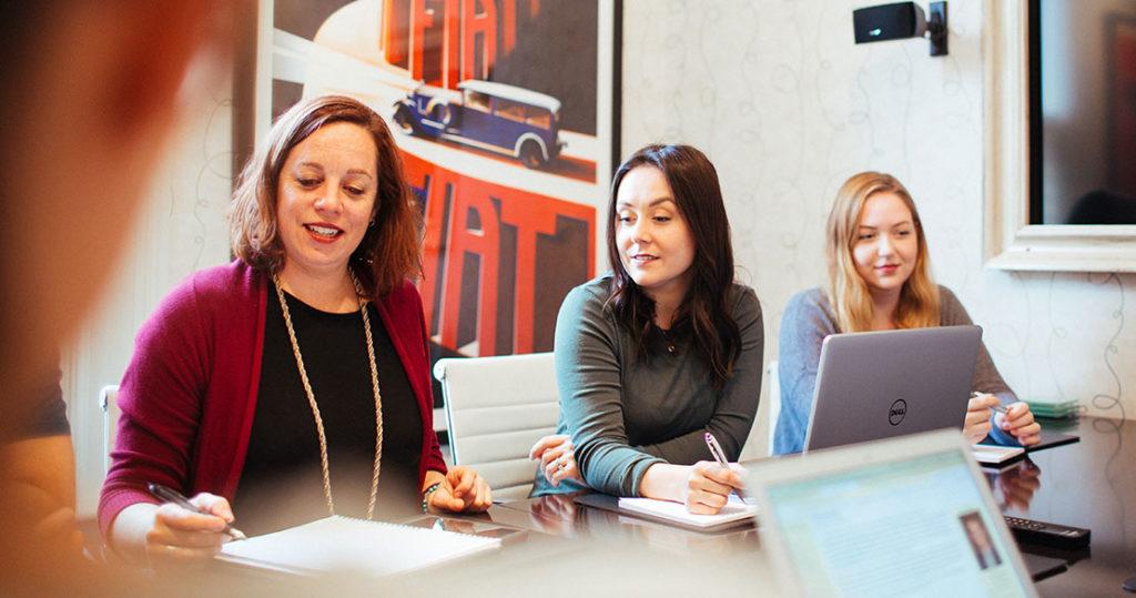 Ontario SEO team members in our boardroom