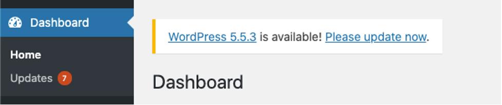WordPress' dashboard interface indicates when your WordPress installation requires an update..