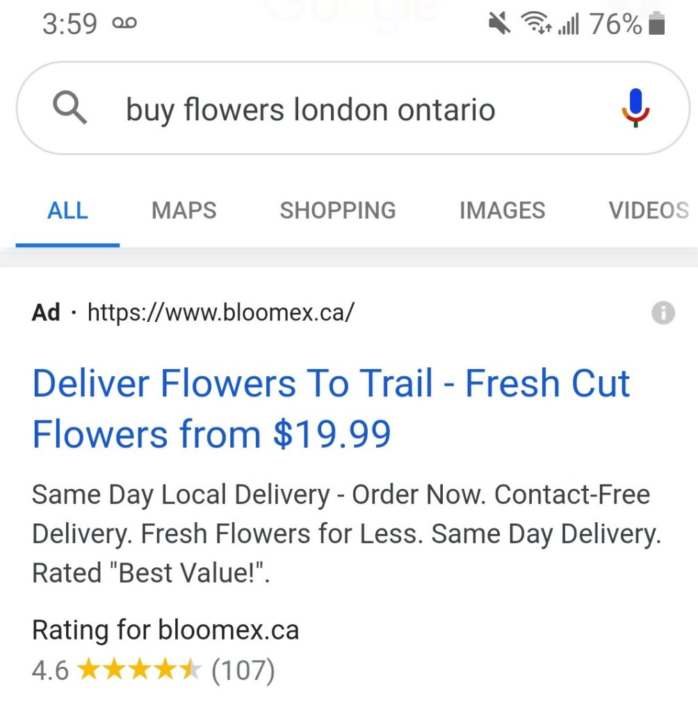 Bloomex using figures in their ad CTA