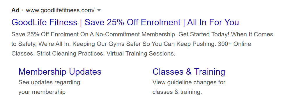 Goodlife Fitness using percentages in their ad CTA
