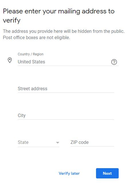 Form to verify your Google My Business Profile through the mail]