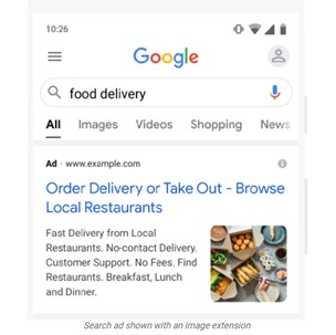 Example of an image extension on a Google Search ad
