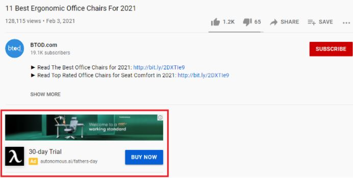 A display ad underneath a YouTube video.
