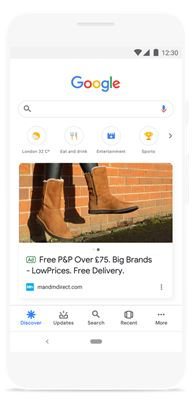 mobile screenshot of an ad in the Google discover feed.
