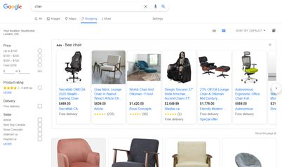 screenshot of the Google Shopping tab showing results for the query 'chair'.