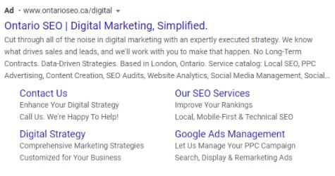 screenshot of one of Ontario SEO's search ads.