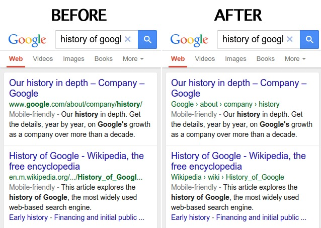 Google improves the way URLs look in mobile search results