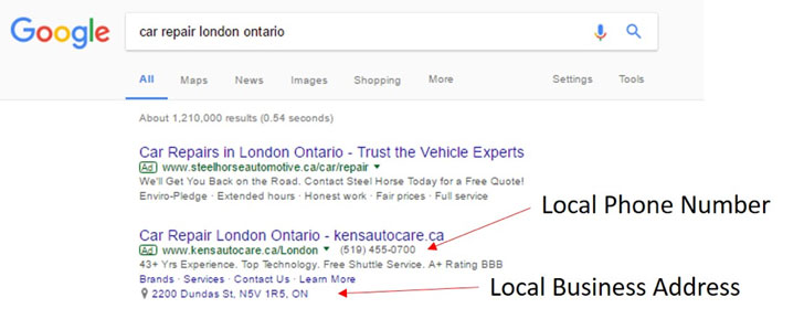 Google search for car repair london ontario