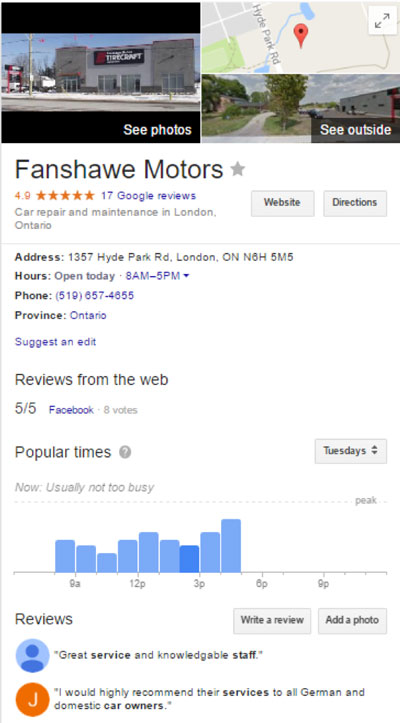 Fanshawe Motors Google My Business Listing