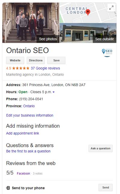 Google My Business Listing on the SERP for Ontario SEO