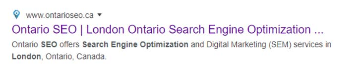 Organic Search listing on the Google Search Engine Results Page