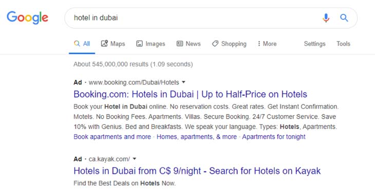Sponsored ads or paid listing on the Google Search Engine Results Page